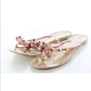 Valentino Rockstud Pink Glitter Bow Sandals 38